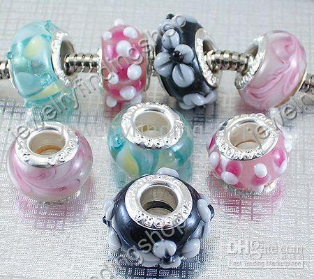 Wholesale mixed silver carve bead Murano glass mixed style beads fit european bracelet