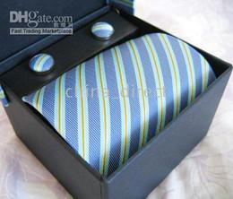 Wholesale Geometric Cufflinks - Mens tie set TIE+HANKY+CUFFLINKS tie cuff link Neckties,ties,cuff button 12sets lot #1305
