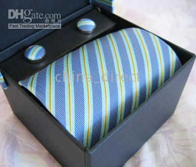 Wholesale Solid Yellow Tie Sets - Mens tie set TIE+HANKY+CUFFLINKS tie cuff link Neckties,ties,cuff button 12sets lot #1305
