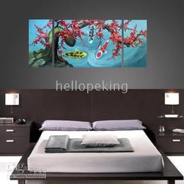 Pittura a olio di pesce koi online-* Dipinto ad olio astratto con cornice Koi Fish Plum Blossom wall7798