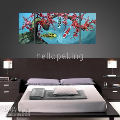 pintura a óleo dos peixes moldada venda por atacado-* Emoldurado arte abstrata Koi Fish Plum Blossom Wall Oil Painting7798