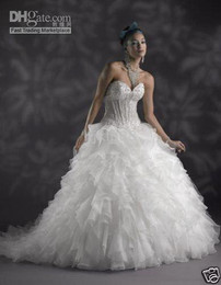 Wholesale Sweetheart Ball Gown Organza Applique - Custom Made New Sweetheart Strapless Lace up Ruffles Tulle Wedding Dresses Bridal Gown