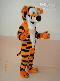 Wholesale Tiger Mascots Costumes - Real Pictures Deluxe Tiger Mascot Costume ,Halloween Party Children Fancy dress ,factory direct,free shipping