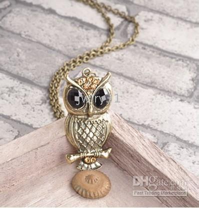 Vintage owl necklace European style fashion boutique 40g