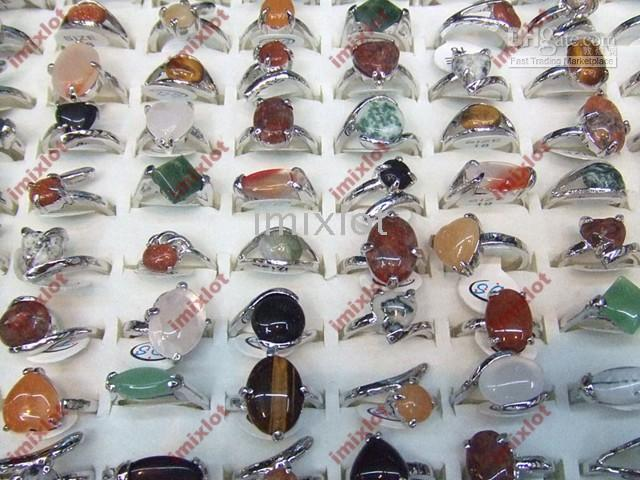 Wholesale Wholesale Jewellery Natural Stones - Jewellery Rings Jewelry Ring 50pcs Rings Natural Stone Rings Semi-Precious Stone Rings [STS01*50]