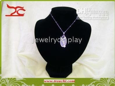 Wholesale Leather Display Bust - Jewelry display large necklace bust black neckform