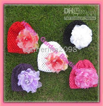 Wholesale Hat Waffle Beanie Crochet - 6pcs lot New 6'' Baby waffle crochet hat with flowers knit waffle beanies can mix Drop shipping