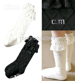 Wholesale Girl Knee Socks White - Children's Socks Girls Plaid Anti-Skid Infant High Knee Socks Lace Socks Black White 2 Color