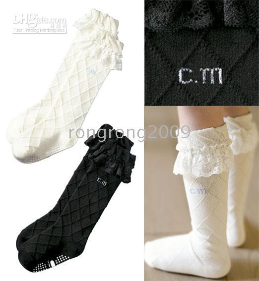 Wholesale Infant Socks Cotton Lace - Children's Socks Girls Plaid Anti-Skid Infant High Knee Socks Lace Socks Black White 2 Color