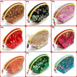 Wholesale Cheap Cute Bags Purses - Cheap Mini Cute Shell Zipper Silk Coin Purse Women Wallet Colorful Jewelry Storage Pouch Candy Gift Bag Wedding Favor Wholesale 20pcs lot