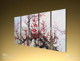 Wholesale Plum Blossom Canvas Art - high quality HUGE ORIGINAL ASIAN FLORAL PLUM BLOSSOM ART --050750