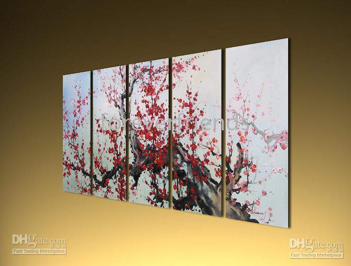 original quality blossoms - high quality HUGE ORIGINAL ASIAN FLORAL PLUM BLOSSOM ART