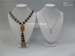 Wholesale White Necklace Bust - WHOLESALE 6 WHITE LEATHERETTE HIGH BUST NECKLACE PENDANT DISPLAY STAND HOLDER