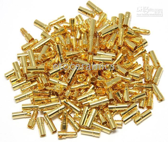 Wholesale Bullet Connectors Australia - 2000 set lot Brand New 3.5mm Golden Bullet Connector Banana Plug Battery
