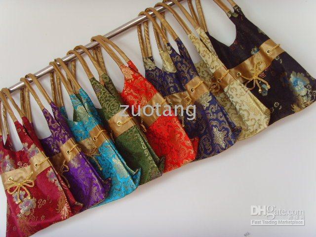 Wholesale Drawstring Bag Satin Blue - Fashion Designer Women Shoulder Bag China Silk Brocade Drawstring Bags
