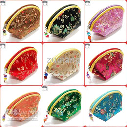 Wholesale Cheap Christmas Candy Boxes - Cheap Lucky Seashell Zipper Coin Purse Fashion Wallet Silk Brocade Wedding Candy bag Bride Favor Chocolate Box Wholesale 60pcs  set