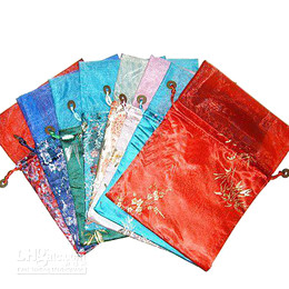 Wholesale Gift Pouch Bags Wholesale China - Patchwork Organza Large Decorating Gift Packaging Bags Christmas Birthday Party Tea Candy Pouches China Silk brocade Drawstring Packaging
