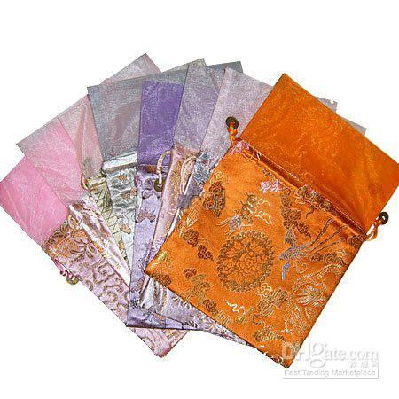 Wholesale Damask Gift Bags - Damask Printed Patchwork Large Organza Gift Bags Decorative China Drawstring Favor Candy Tea Pouch for Festive Christmas Birthday Party