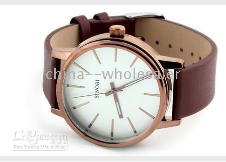 NUEVA Sinobi Fashion Men's Belt Style Watches correa de cuero reloj de cuarzo 3pcs / lot