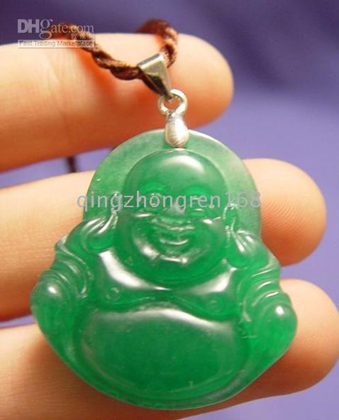 Laughing buddha pendant online laughing buddha pendant necklace promotion green jade laughing buddha pendant necklace aloadofball Images