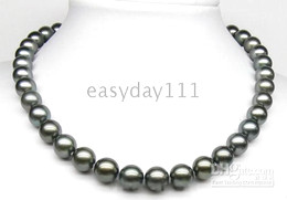 Wholesale 925s silver - RAREAAA++ 9-10MM TAHITI BLACK AKOYA PEARLS NECKLACE 925S CLASP