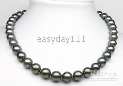 Wholesale pearl tahiti - RAREAAA++ 9-10MM TAHITI BLACK AKOYA PEARLS NECKLACE 925S CLASP