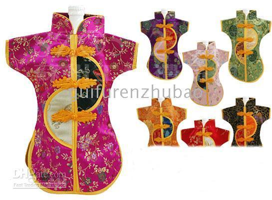 Unique Wine Bottle Cover Wine Gift Bags Chinese knot Silk Flower Clothes Wine Bottle Cooler 30pcs
