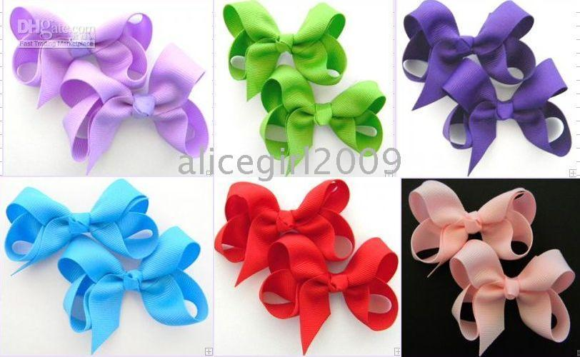 Wholesale-girls Boutique hair bows cinta del grosgrain hairbows clip adjunto buena calidad poco bows100pcs / lot