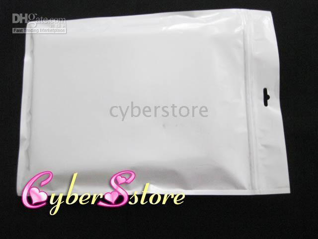 Wholesale Ipad Plastic Retail Packaging - White Simple Retail packaging Plastic bag pouch for apple ipad leather, hard case etc.