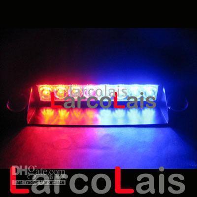 led 12v flaş toptan satış-Kırmızı Mavi 8 LED Strobe Flaş Uyarı Polis EMS Araba Kamyon Yanıp Sönen LED Işık İtfaiyeciler Sis Farları 8LED