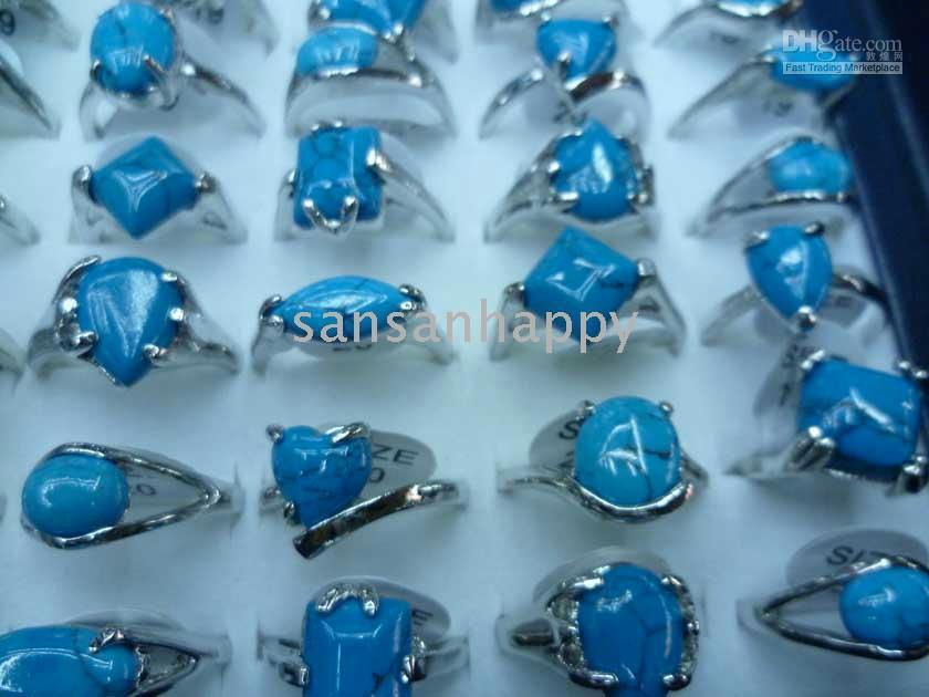 Wholesale Green Gemstone Silver Ring - Wholesale TURQUOISE GEMSTONE Natural stone RING 925 SILVER IN USA Mixed size FAST SHIPPING IN STORE