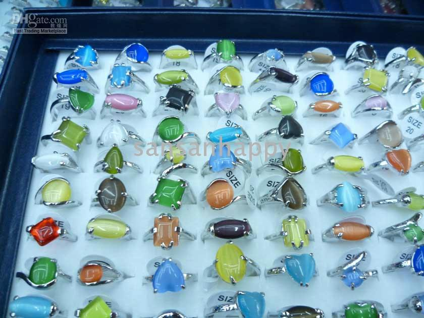 Wholesale Cat Eye Rings Wholesale - wholesale 100pcs cat eye stone 925 silver rings