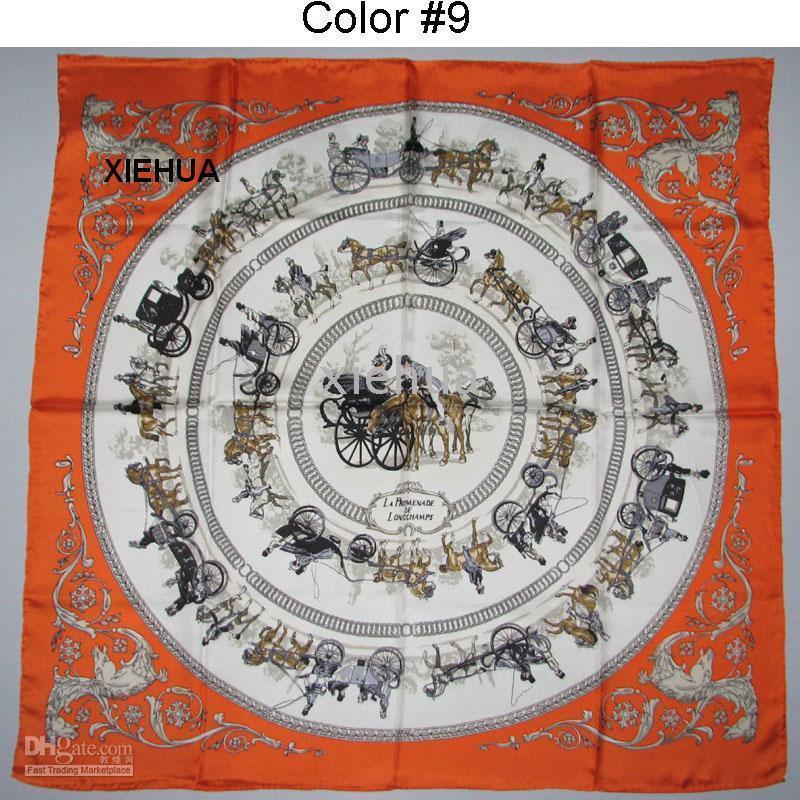 Wholesale Hand Dyed Scarves - orange   blue LA PR0MENADE DE L0NGCHAMPS SILK TWILL SCARF , HAND-ROLLED 90x90cm .