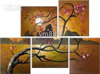 Framed - 2053 5 panels of tree Pure Handpainted Modern Artwor...