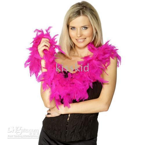 plumas de las fuentes del partido al por mayor-10 Unids Fancy Dress Accesorio Hot Pink Feather Boa Party Costume Party Supplies Decoración 2 M Envío gratis
