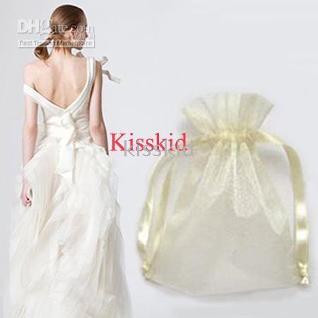 bolso regalo organza marfil al por mayor-1000 piezas 9x12cm blanco / marfil bolsas de regalo de organza fiesta de boda partido 9x12cm bolsa o colores múltiples