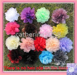 Wholesale Wholesale Flower Brooch Hair Clip - 17 colors for your choose 41 2'' organza mesh silk flower alligator hair clip and brooch pin
