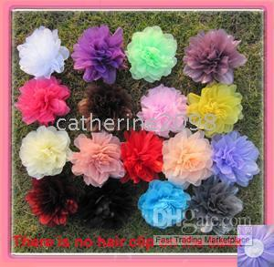 Wholesale Silk Brooch Flowers - 17 colors for your choose 41 2'' organza mesh silk flower alligator hair clip and brooch pin