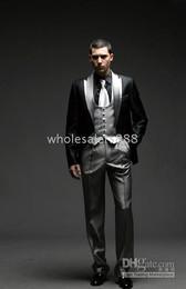 Wholesale Designer Suit Groom Men - Men Complete Designer Bridegroom Wedding Prom Suits Groom Tuxedos (jacket+pants+tie+vest) C148