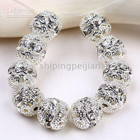 10MM Clear Strass Spacers, Charme Rondelle Silver Plated Ball Spacer Beads, Findings.