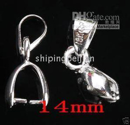 Wholesale Pinch Bail Plates - Rhodium Plated Pendant Pinch Bail 14mm, Pinch Bail Size: 4MM, Pendant Clips, Charm Jewelry Findings.