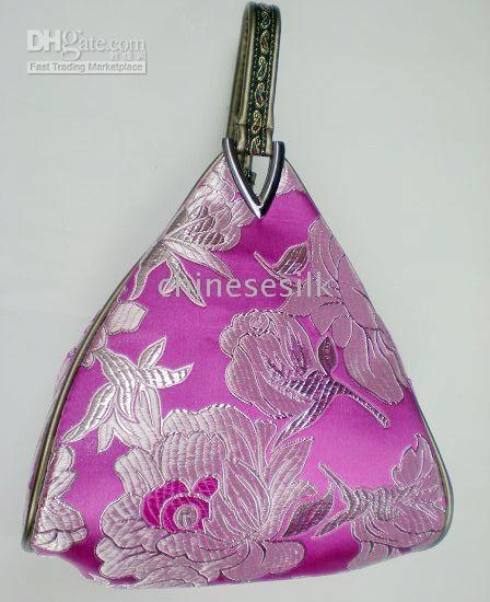 Wholesale China Evening Bag Color Bag Women Bag Cheap Fashion Silk Flower Triangle Bags Free