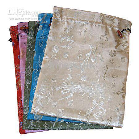 Wholesale Silk Brocade Fabric Wholesale - Reusable Flower Pattern Storage Bags Protective Case Luxury Silk brocade Drawstring Decorative Gift Packaging Pouches with Lined wholesale