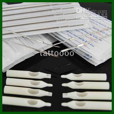 best selling 100 Pcs Tattoo Disposable Needles & 100 Tattoo Tips free shipping WSZ-1-1*2+WT008-3RT+WT008-5RT