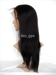 """Wholesale Light Brown Long Wig Cosplay - Indian Remy human hair Full Lace Wigs , Yaki Straight 16"""" #1 #1B #2 #4 #T1b 30 optional"""