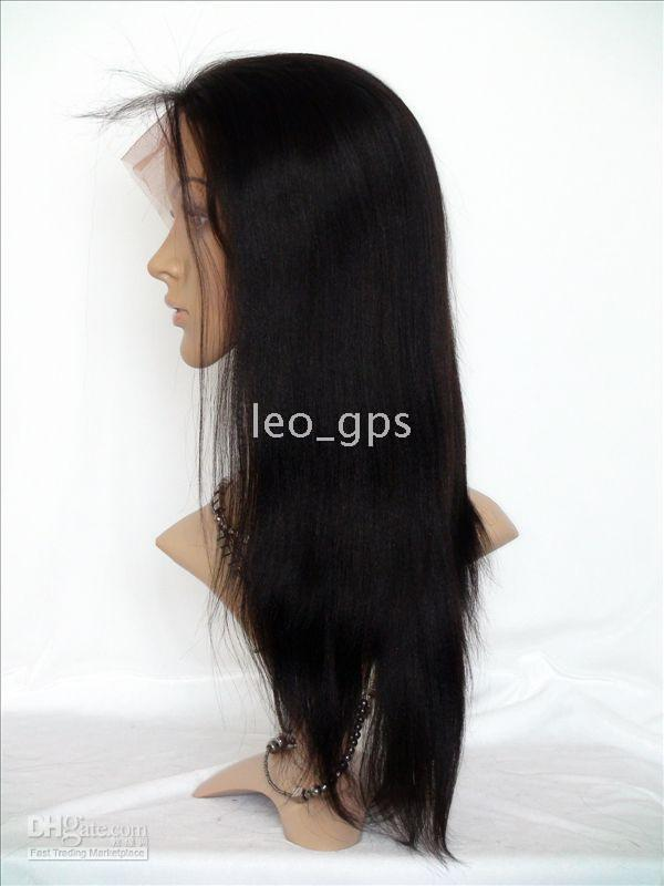 "Wholesale human hair cosplay wigs - Indian Remy human hair Full Lace Wigs , Yaki Straight 16"" #1 #1B #2 #4 #T1b 30 optional"