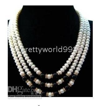 "$enCountryForm.capitalKeyWord Australia - genuine 3 rows saltwater white pearl black jade necklace 17""18""19"""