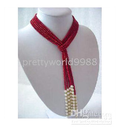 Wholesale Real Coral Necklaces - AAA FINE Real Red Coral &Freshwater Pearl Wonderful Necklace