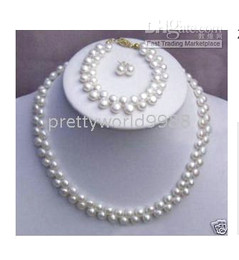 Wholesale Pearl Strand Necklace Earring Set - AAA+ FINE 2rows real white pearls necklace 19inches bracelet 7.5inches and earring sets