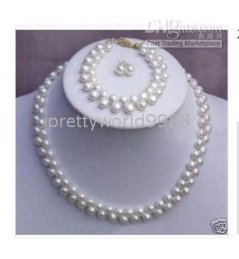 FINE 2 reows echte weiße Perlen Halskette 19 Zoll Armband 7,5 Zoll und Ohrringe Sets